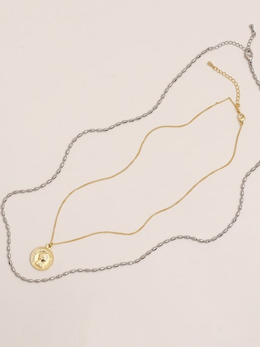 14k Gold White K [necklace set] Brass Bead Geometric Vintage Multi Strand Necklace
